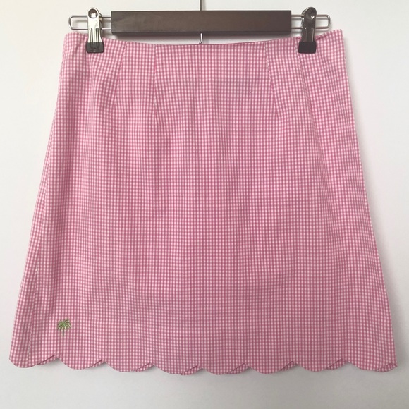 Lilly Pulitzer Dresses & Skirts - Lilly Pulitzer Pink Gingham Scalloped Hem Skirt